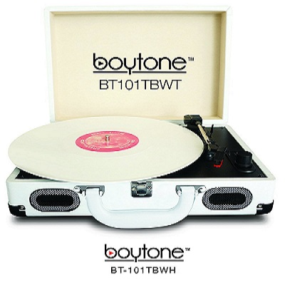 Boytone BT-101TBWT Turntable Portable Suitcase Style Belt-Drive 3-speed with FM Radi