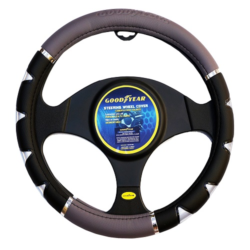 "Goodyear 14.5-15.5"" Leather Grey/Black  Steering Wheel Cover GY-SWC-314"