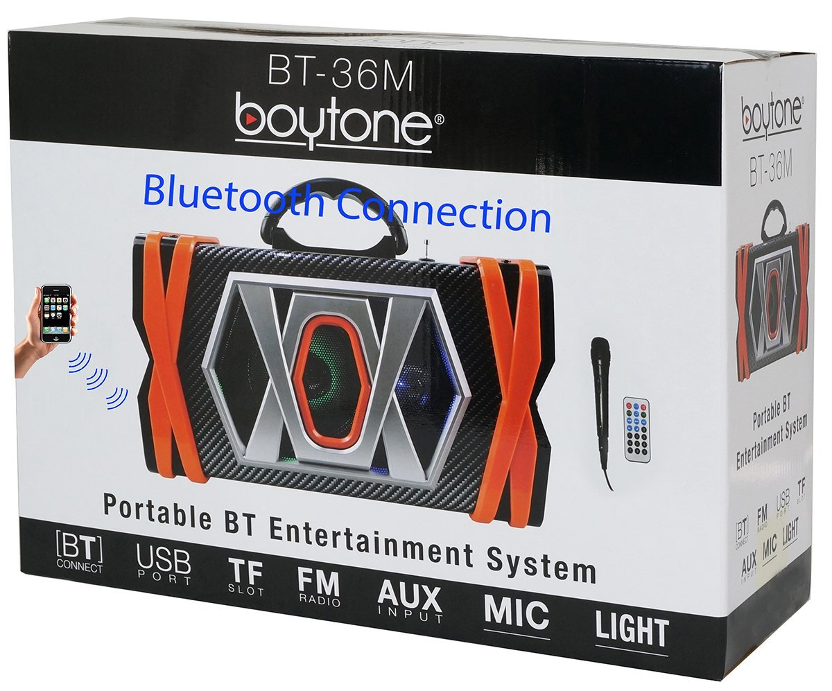 Boytone BT-36M Portable Audio karaoke Bluetooth PA Speaker System with Microphone, F