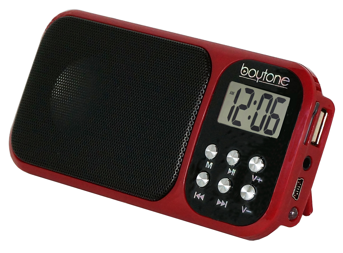 Boytone BT-92R Portable FM Transistor Clock Radio Alarm, Countdown timer, Built-in S