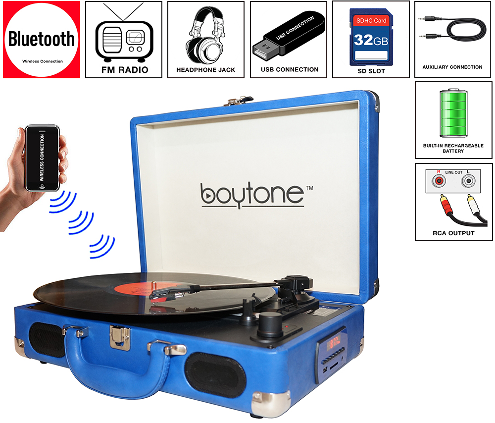 Boytone BT-101BL Bluetooth Turntable Briefcase Record player AC-DC, Built in Recharg