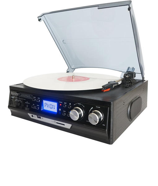 Boytone BT-17DJB 3-Speed Stereo Turntable 33/45/78 RPM with AM-FM Radio