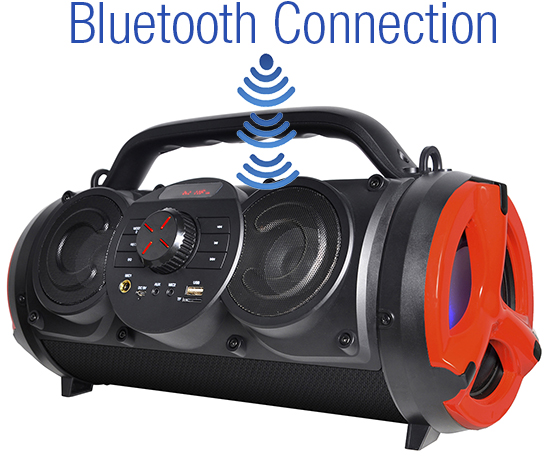 Boytone BT-18RG Portable Bluetooth Boombox Speaker, Indoor/Outdoor 2.1 Hi-Fi Cylinder Loud Sound Built-in 5""