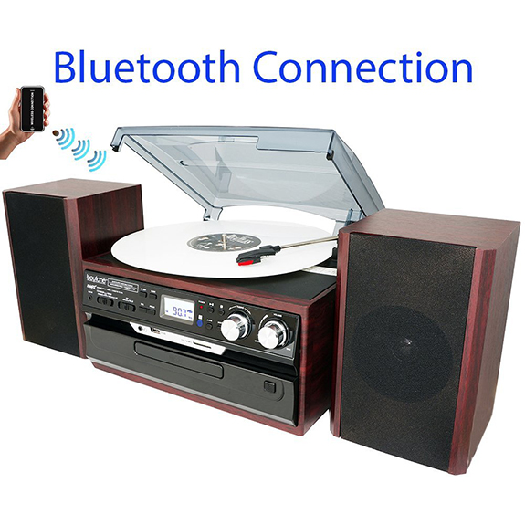 8-in-1 Boytone BT-24DJM Turntable with Bluetooth Connection, 3 Speed 33, 45, 78 Rpm,
