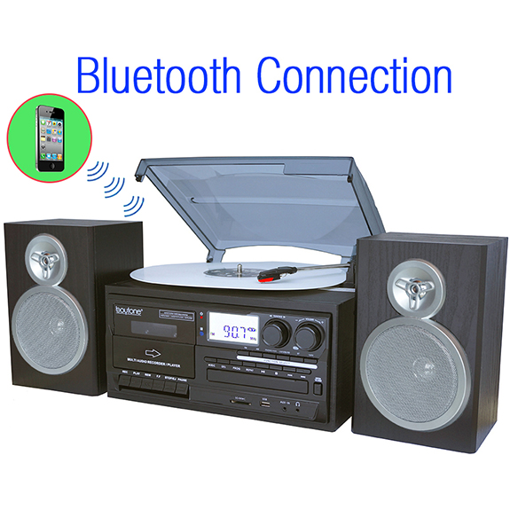 Boytone BT-28SBS, Bluetooth Classic Style Record Player Turntable with AM/FM Radio,