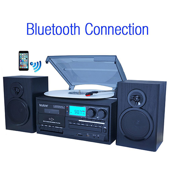 Boytone BT-28SPB, Bluetooth Classic Style Record Player Turntable with AM/FM Radio,