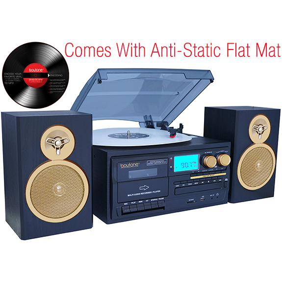 Boytone BT-28SPG 3-Speed Bluetooth Turntable System, Front Loading CD/MP3/Cassette P