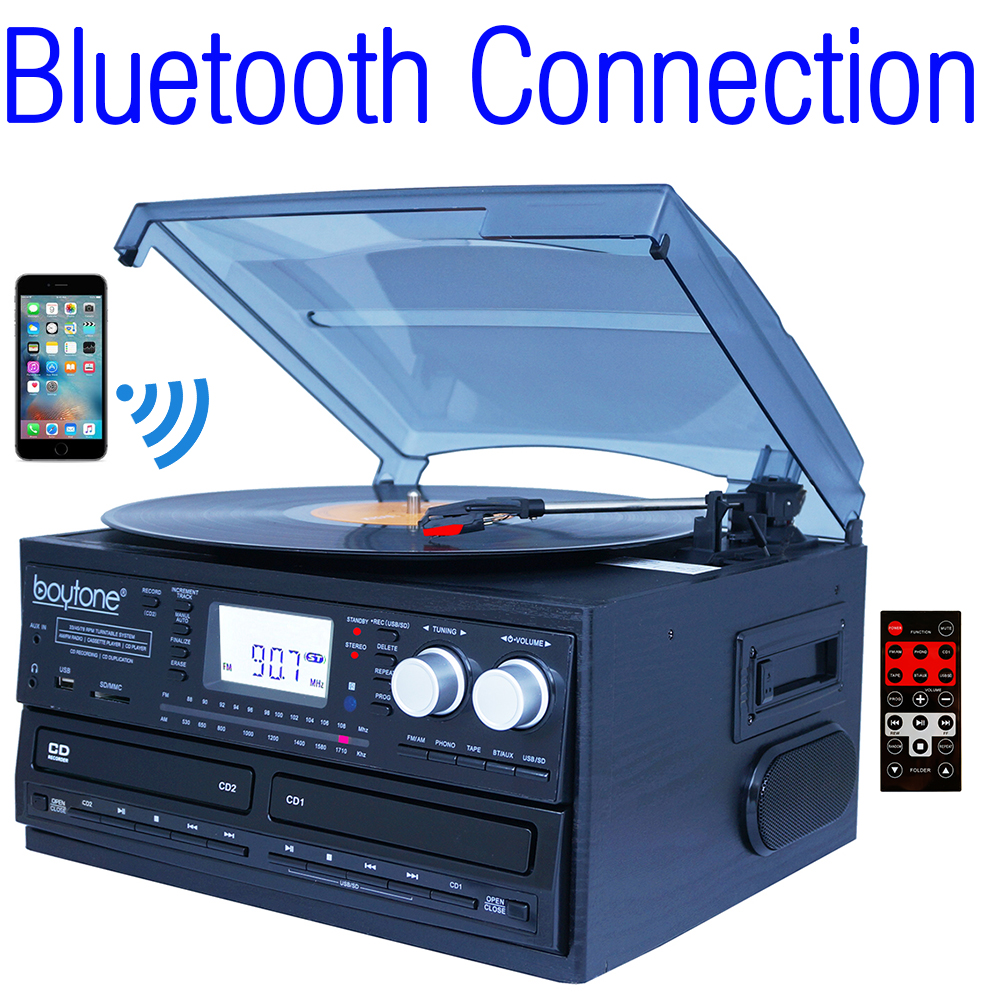 Boytone BT-29B, Bluetooth Dual CD Player and Recorder CD2 to CD1, AM/FM Radio Turnta