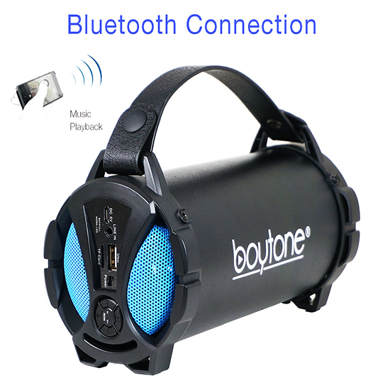 Boytone BT-38BL Portable Bluetooth Indoor/Outdoor Speaker 2.1 Hi-Fi Cylinder Loud Speaker with Built-in 2x3 Sub
