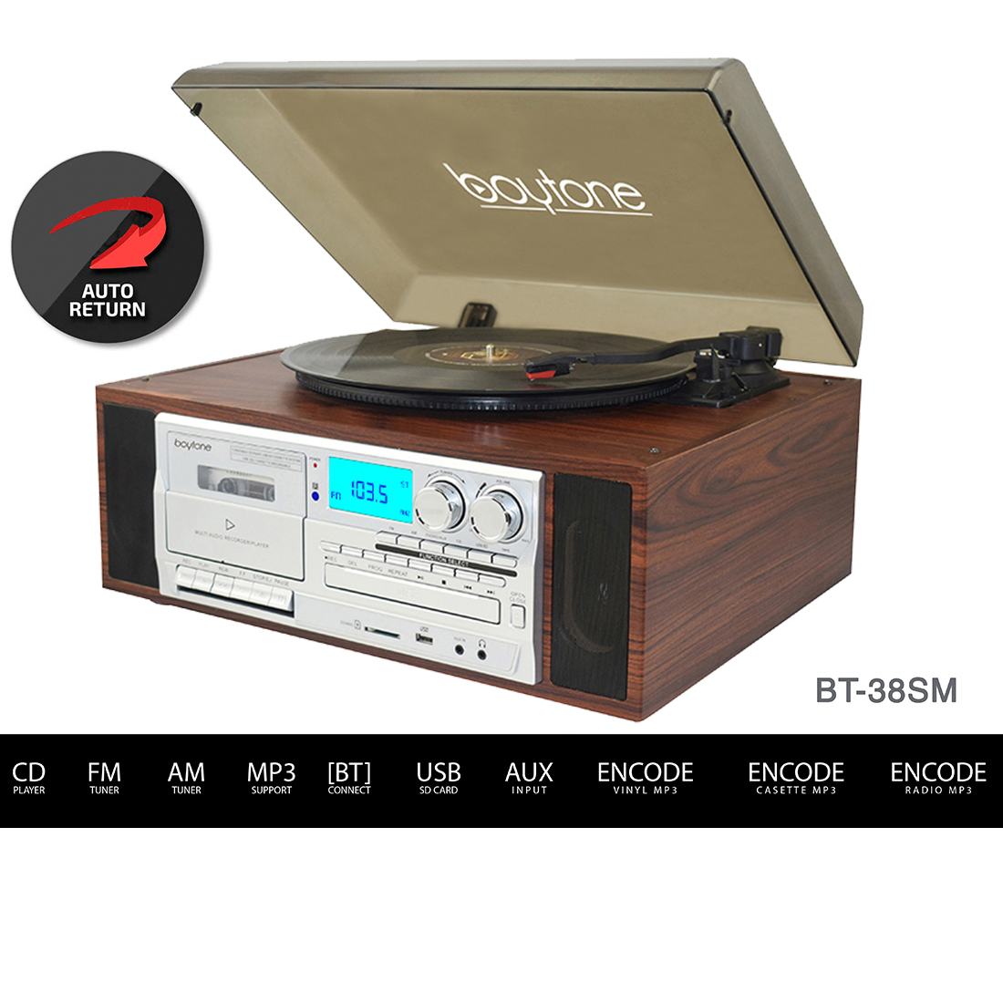 Boytone BT-38SM, Bluetooth Classic Style Record Player Turntable with AM/FM Radio, CD / Cassette Player