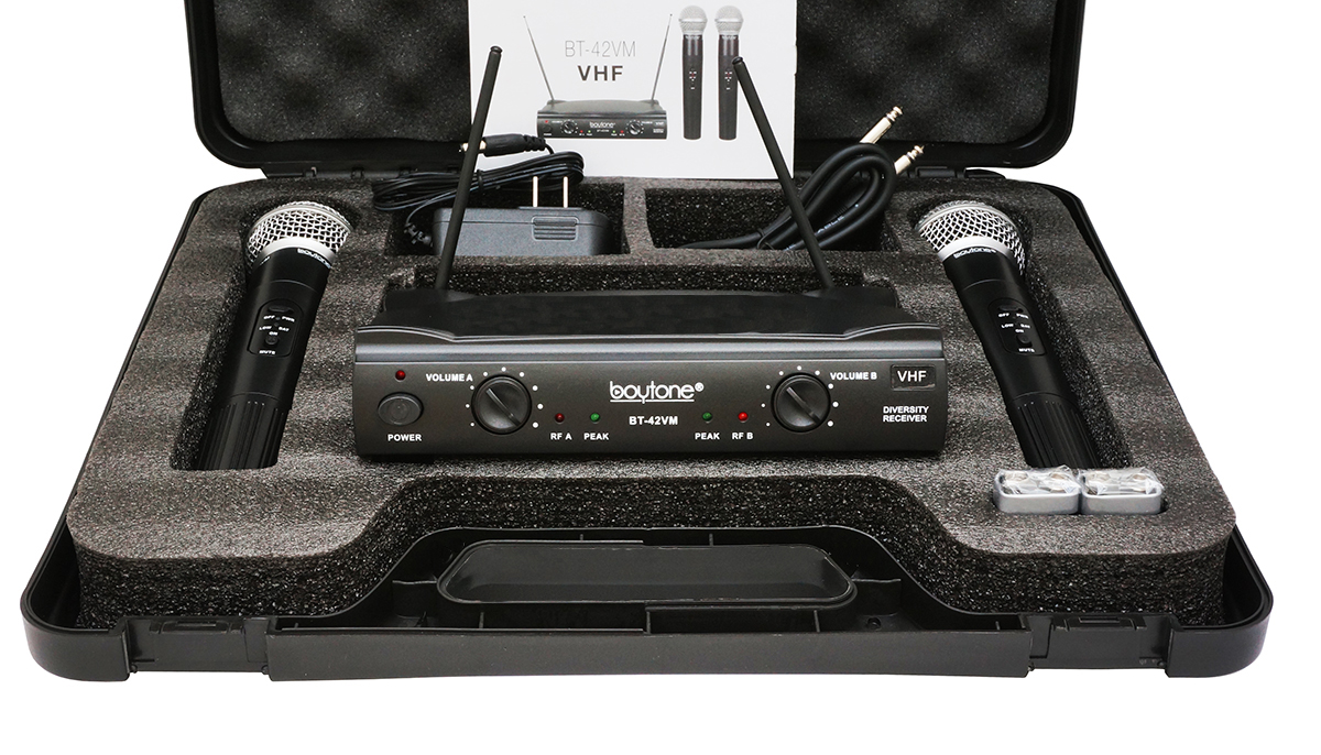 Boytone BT-42VM Dual Channel Wireless Microphone System - VHF Fixed Dual Frequency Wireless Mic Receiver