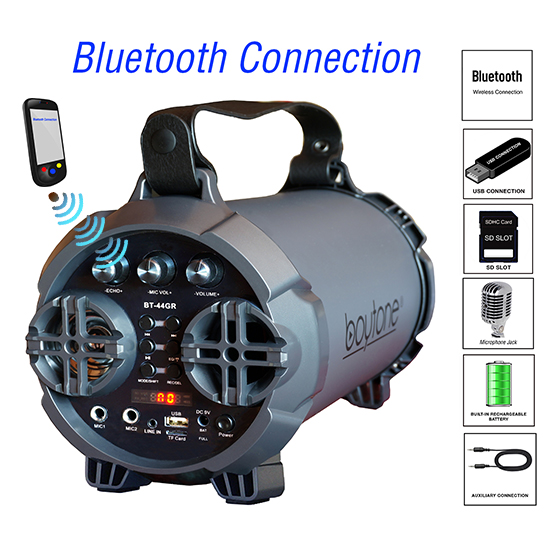 "Boytone BT-44GR Portable Bluetooth Indoor/Outdoor 2.1 Hi-Fi Cylinder Loud Speaker Built-in 5"" + 2"""