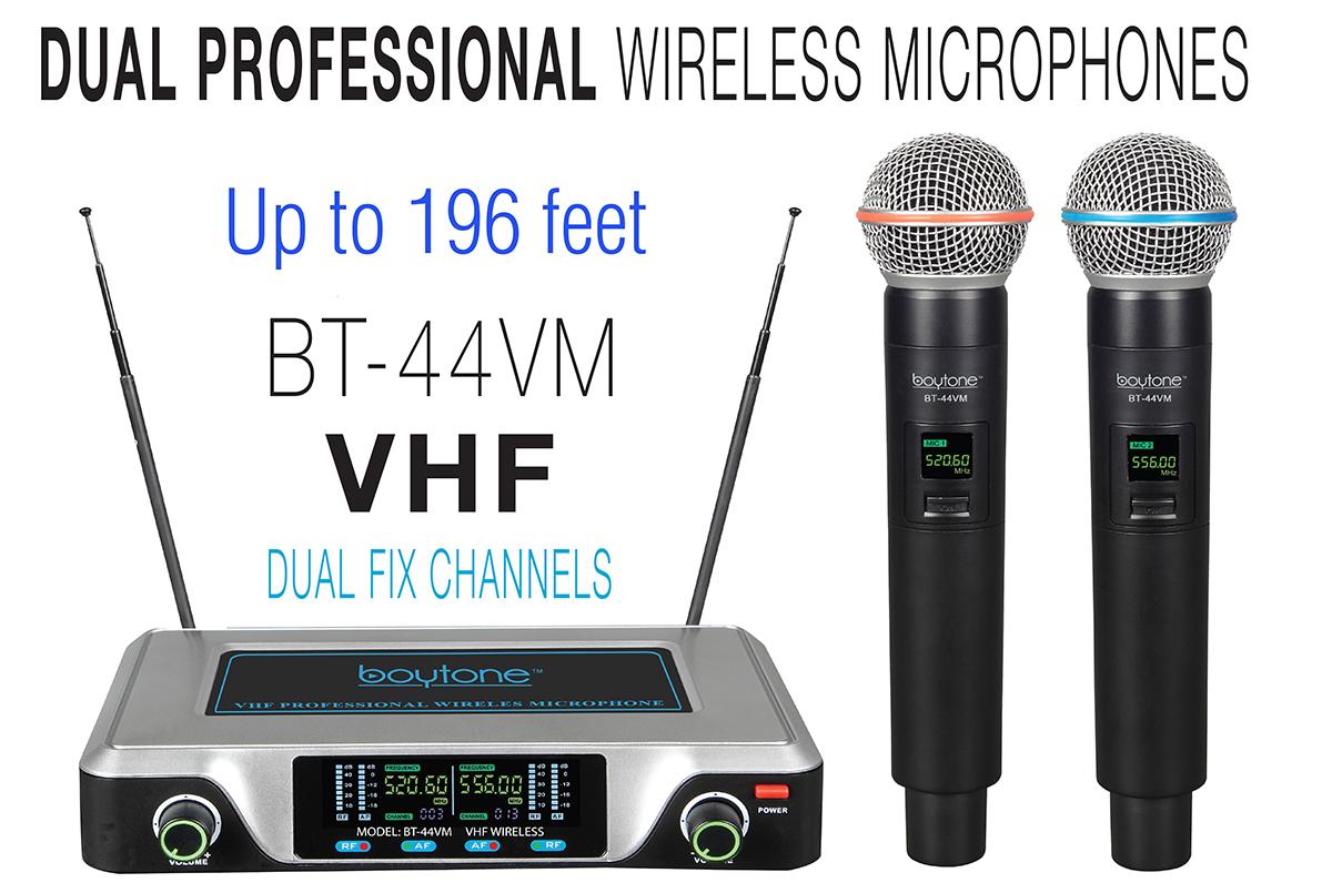 Boytone BT-44VM Dual Digital Channel Wireless Microphone System - VHF Fixed Frequency Wireless Mic