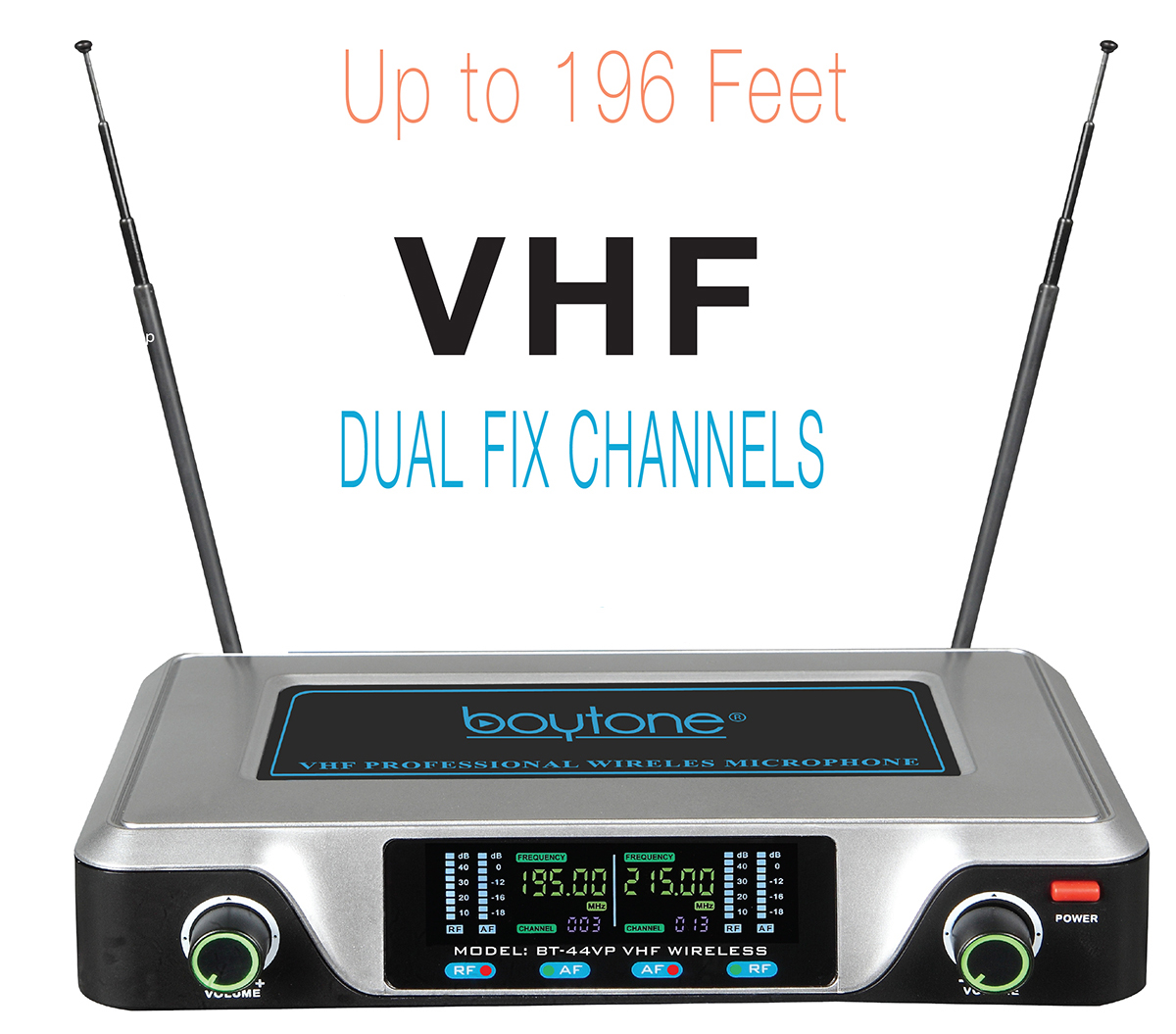 Boytone BT-44VP Dual Digital Channel Wireless Microphone plus Headset Mic Set System - VHF Fixed Frequency
