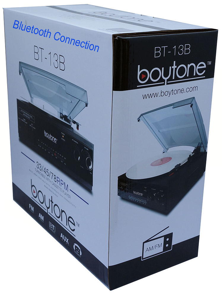 Boytone BT-13B with Bluetooth Connection 3-Speed Stereo Turntable Belt Drive 33/45/7