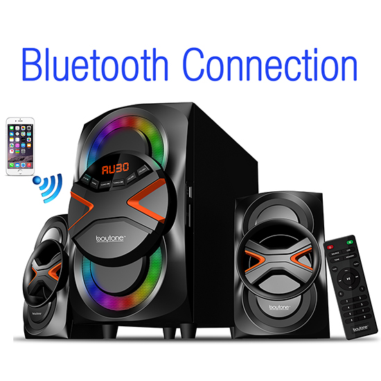 Boytone BT-326F, 2.1 Bluetooth Powerful Home Theater Speaker System, with FM Radio,