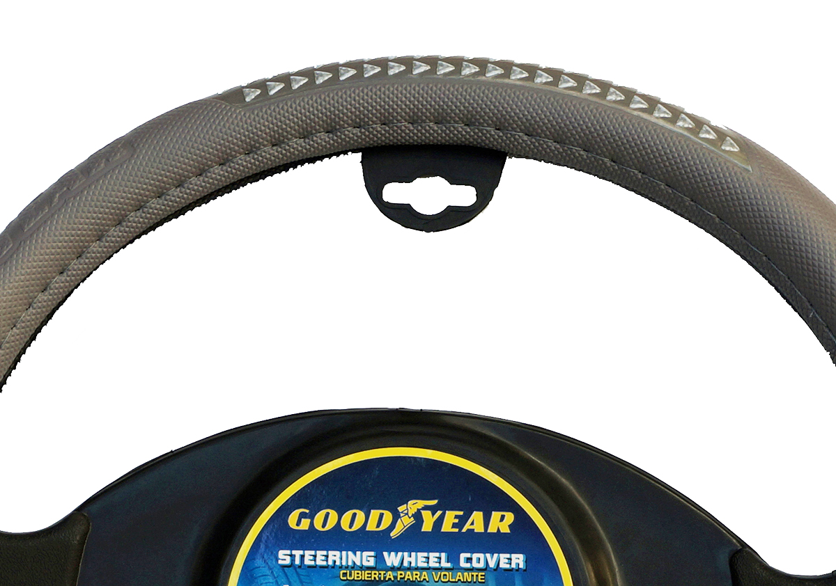 "Goodyear Dia 14.5-15.5"" Black Leather Grey Suede Steering Wheel Cover SWC-1320"