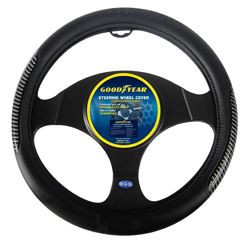 "Goodyear Black PU Leather Steering Wheel Cover for 14.5"" - 15.5"" Wheel SWC-312"