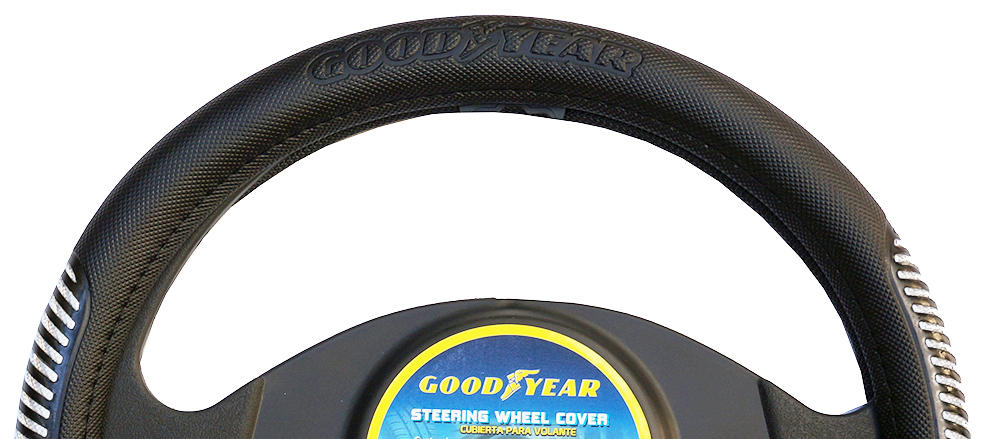 "Goodyear Dia 14.5-15.5"" Black Leather Grey Suede Steering Wheel Cover SWC-1312"