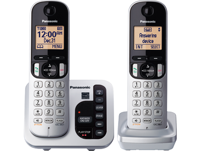 Panasonic KXTGC222S Expandable Digital Cordless Answering System with 2 Handsets
