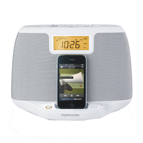 Memorex Sound System iPod Clock Radio, White, No Remote Included