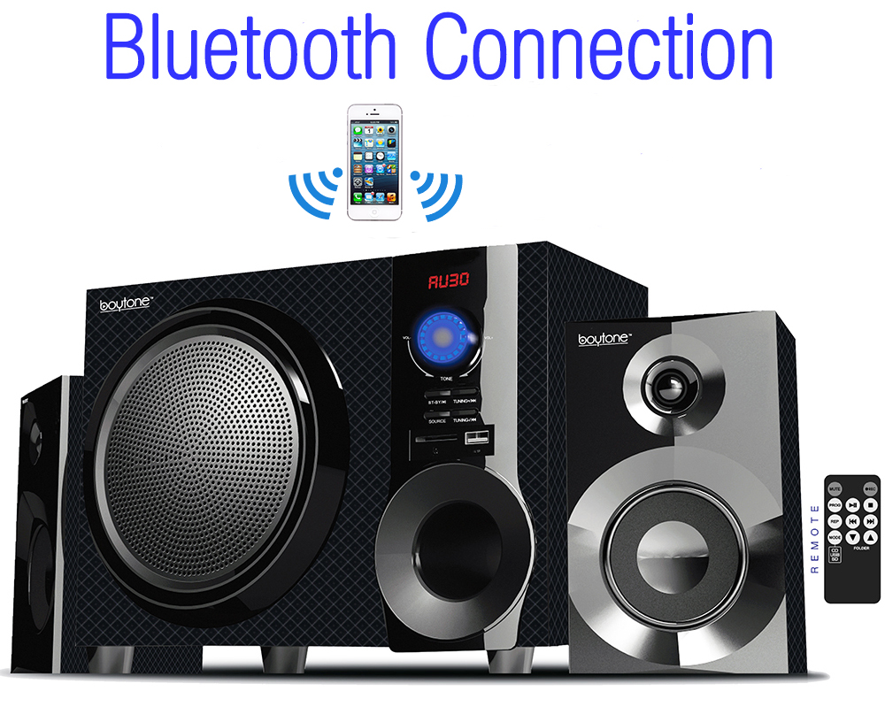 Boytone BT-215FD Wireless Bluetooth 30-Watt Speaker System with FM Radio