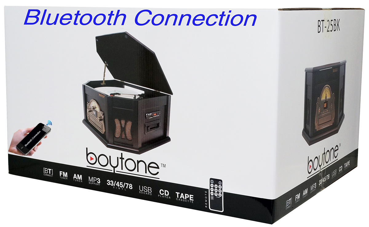 8-in-1 Boytone BT-25BK with Bluetooth Connection Natural wood Classic Turntable Ster