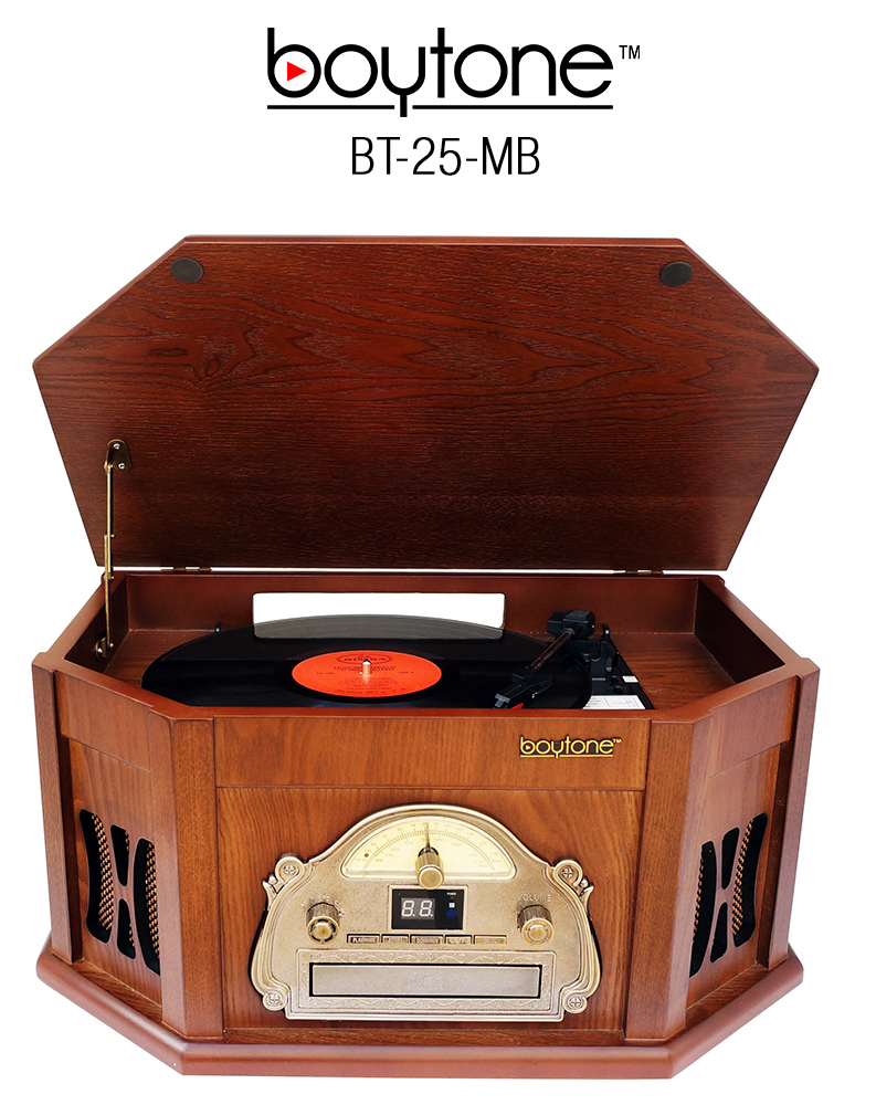 8-in-1 Boytone BT-25MB with Bluetooth Connection Natural wood Classic Turntable Ster