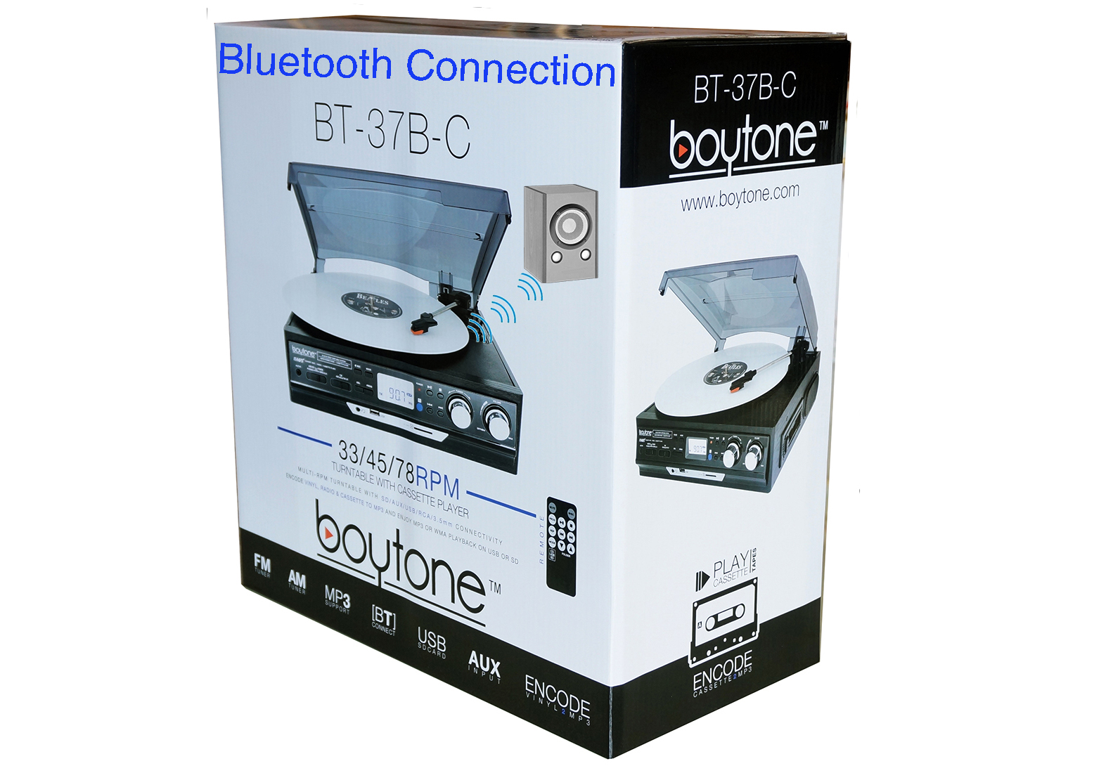 Boytone BT-37B-C Bluetooth 3-Speed Stereo Turntable, Wireless Connect to Devices spe