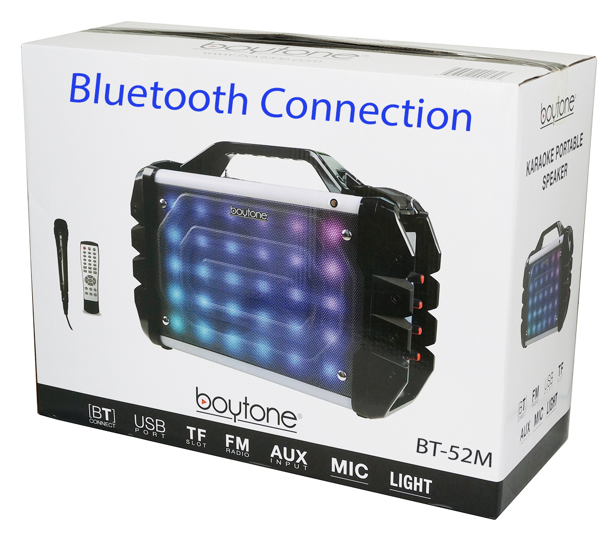 Boytone BT-52M Portable Audio karaoke Bluetooth PA Speaker System with Microphone, F