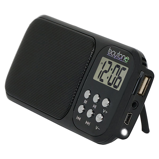 Boytone BT-92B Portable FM Transistor Clock Radio Alarm, Countdown timer, Built-in S