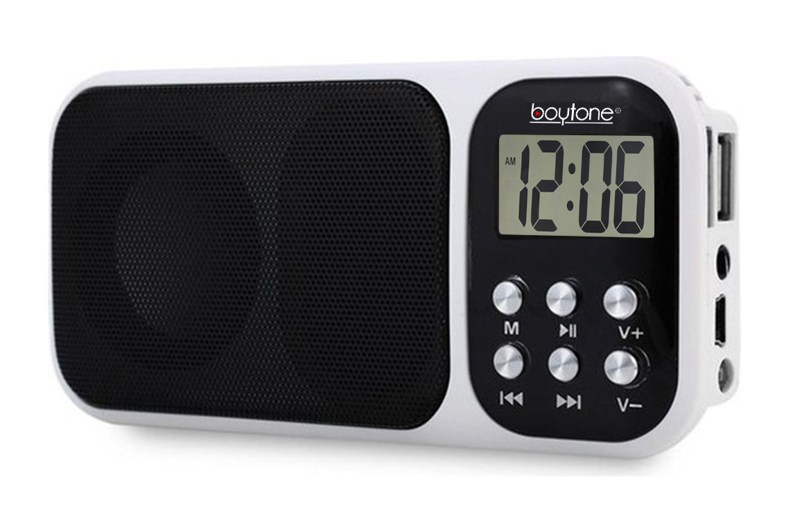 Boytone BT-92W Portable FM Transistor Clock Radio