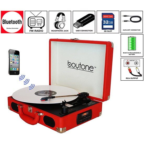 Boytone BT-101RD Bluetooth Turntable Briefcase Record player AC-DC, Built in Recharg
