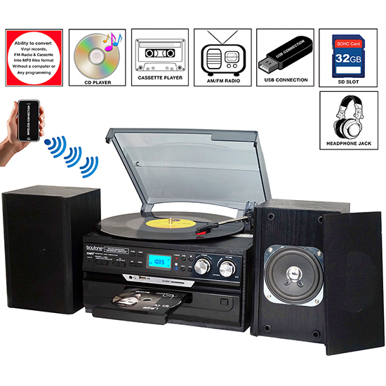8-in-1 Boytone BT-24DJB with Bluetooth Connection, 3 Speed 33, 45, 78 Rpm, CD, Casse