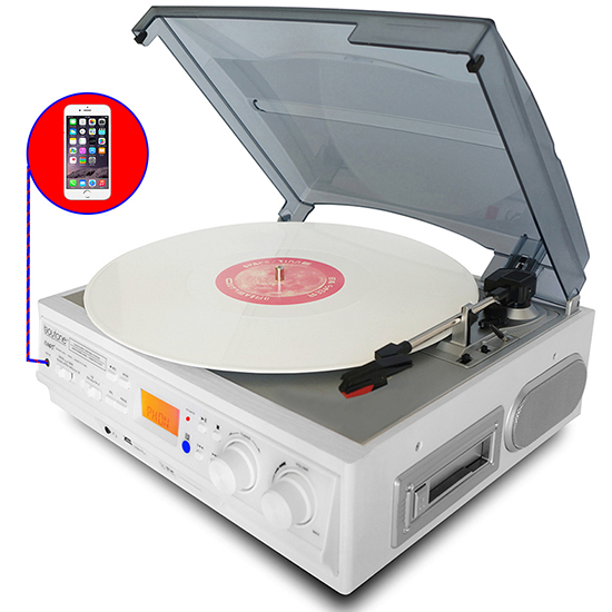 Boytone BT-37WT-C White Color Limited Edition 3-Speed Stereo Turntable, 2 Built-In S
