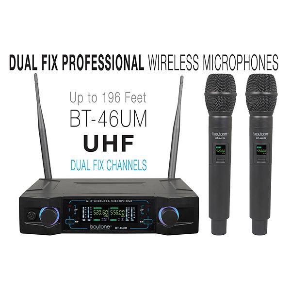 Boytone BT-46UM UHF Digital Channel Wireless Microphone System ?Dual Fixed Frequency Wireless