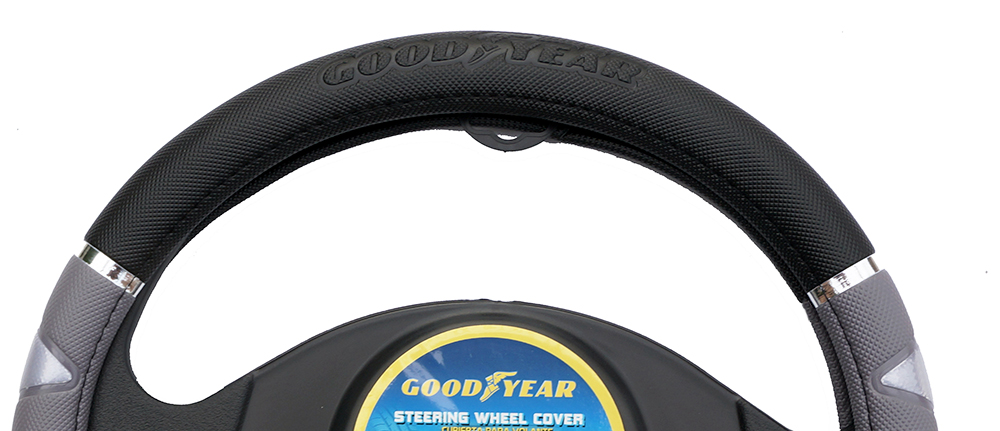 "Goodyear Dia 14.5-15.5"" Black Leather Grey Suede Steering Wheel Cover SWC-1314"